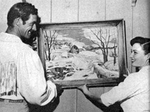 """The Range Rider"" aka Jock Mahoney and wife Margaret Field decorate their new San Fernando Valley home in 1953."