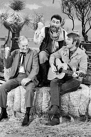 "Doc (Milburn Stone) and Festus (Ken Curtis) join in the fun on  ""The Glen Campbell Show""."