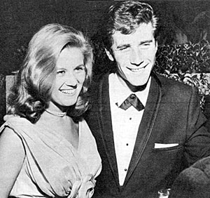 "Robert Fuller on a date with Kathy Nolan of ""The Real McCoys"" in 1962."