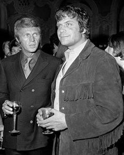 Once Upon a Time in Hollywood...Steve McQueen looks askance at Oliver Reed.