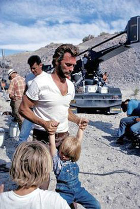 Clint Eastwood on location with sons Kyle and Scott.