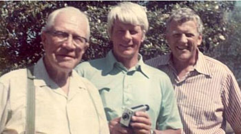 Historic photo of brothers Peter Graves and James Arness with their father, Rolf Aurness of Norwegian descent.