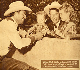 Bill Elliott with Chill Wills and his son and daughter at rodeo.
