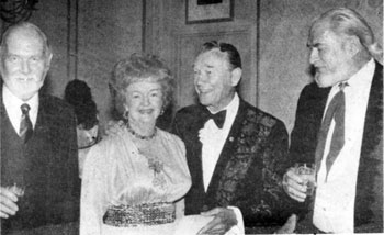 (L-R) Harry Carey Jr., Dale Evans, Roy Rogers and Jock Mahoney at a Stuntmen's Life Achievement Awards dinner in 1983.