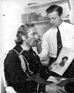 "Head of Paramount's make-up department, Wally Westmore, prepares John Miljan to play George Armstrong Custer in ""The Plainsman"" ('36)."