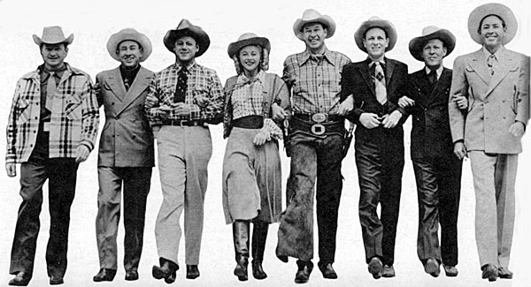 "Bill Elliott and Vera Ralston (center) along with the Sons of the Pioneers (L-R) Pat Brady, Hugh Farr, Bob Nolan, Lloyd Perryman, Tim Spencer and Karl Farr were in Cheyenne, Wyoming in 1947 to promote Elliott's Republic film ""Wyoming""."