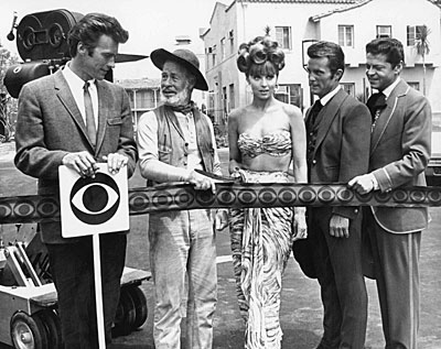 "A CBS ribbon cutting for ??? with Clint Eastwood and Paul Brinegar of ""Rawhide"", Tina Louise of ""Gilligan's Island"", and Robert Conrad and Ross Martin of  ""Wild Wild West"". (Thanx to Terry Cutts.)"