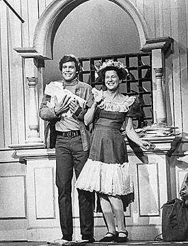 "Doug McClure, Trampas on ""The Virginian"", and Minnie Pearl haul in the mail  for a TV special."