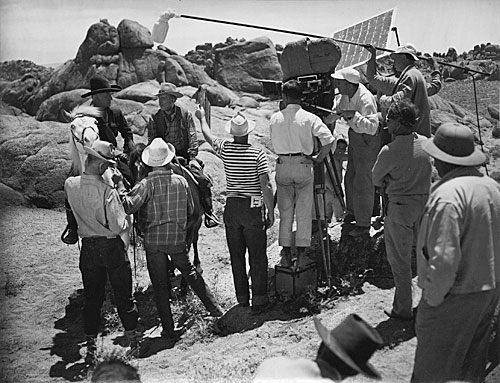 William Boyd and Andy Clyde filming another Hopalong Cassidy adventure in the Alabama Hills of Lone Pine, CA.