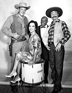 "James Arness, Carol Burnett, Scatman Crothers on the  ""Red Skelton Chevy Special"" in 1959. (Thanx to Terry Cutts.)"