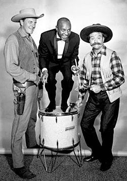 "James Arness, Scatman Crothers on the ""Red Skelton Chevy Special"" in 1959. (Thanx to Terry Cutts.)"
