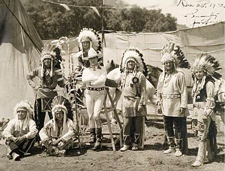 Tom Mix, Jim Thorpe and some friends. Photo taken Dec. 25, 1932 and  signed by Jim Thorpe.