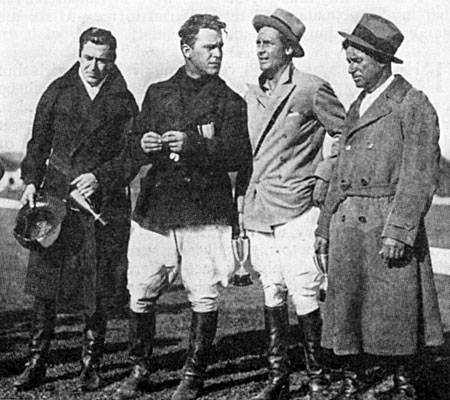 Winners at the Riverside Polo Club! (L-R) Johnny Mack Brown (holding the trophy), Big Boy Williams, Charles Farrell and Will Rogers.