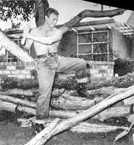 Don keeps fit by chopping wood.