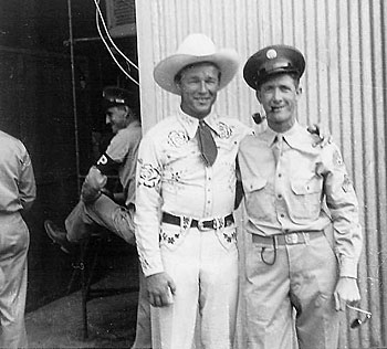 Roy with Ralph Pruitt at Gardner Army Airfield near Taft, CA in 1942.