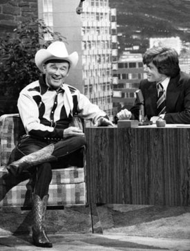 "Roy with host John Davidson on NBC's ""Tonight Show"" in the late '70s."