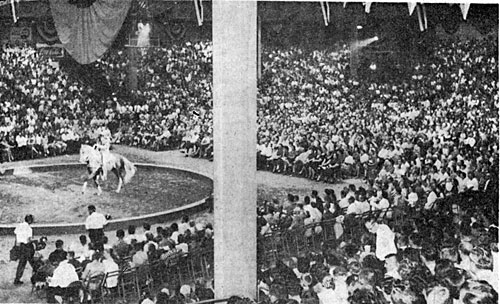 October 2, 1959 saw the biggest crowd ever at the Fairgrounds Arena for a Mid-South Fair. Both the reserved seats on the ground and the bleachers were sold out to see Roy and Trigger do their stuff.