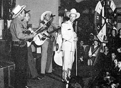 Roy and the Sons of the Pioneers entertain at the Stagedoor Canteen in Hollywood.