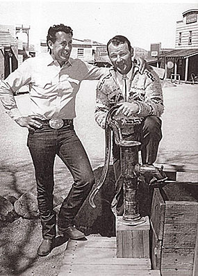 Rodeo entertainer Troy Nabors and Roy at Apacheland in Arizona in 1960.