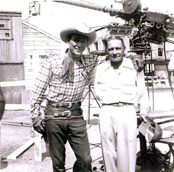 Director Joe Kane visits Roy Rogers on the set of his TV series. Kane had earlier served as director and associate producer on dozens of Roy's pictures at Republic in the '30s and '40s.