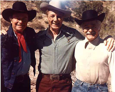 "Don Barry, Bob Livingston and stuntman Davey Sharpe. Taken during the filming of ""Blazing Stewardesses"" (1975), Livingston's last film. (Thanx to Bobby Copeland.)"