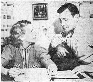 Buck Jones and his production manager Irene Schreck go over some expenses in March 1937. Schreck came to Hollywood in 1915 and started as one of D. W. Griffith's stenographers. She later worked as secretary to the studio manager of the old Metro lot and helped design scenery for Stan Laurel comedies at Universal. She started as Buck's production manager in 1934.