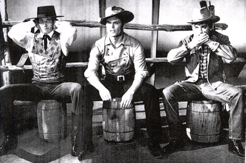 "Hear no evil Hugh O'Brian as Wyatt Earp, See no evil Ty Hardin as Bronco Layne and Speak no evil Will Hutchins as Tom ""Sugarfoot"" Brewster. Taken from a 1960 PHOTOPLAY annual."