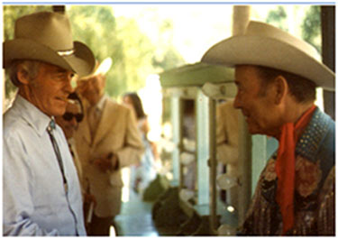Guy Madison and Roy Rogers stop to chat during a photo shoot on the Warner Bros. lot in 1981. Note Pedro Gonzales Gonzales and Rex Allen in the background. (Thanks to Don Maris and Earl Blair.)