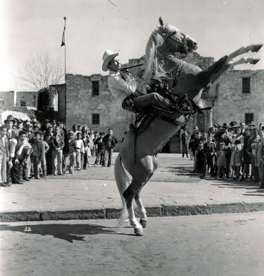 Roy Rogers and Trigger in front of the Alamo in San Antonio, Texas. Taken during a WWII war bond tour. (From Steve Crum's collection.)