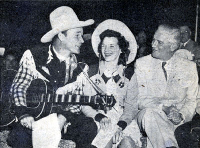 (L-R) Roy Rogers, Patsy Montana and Republican Governor of Illinois from 1941-1948 Dwight H. Green. Roy was guesting on the WLS National Barn Dance when this picture was taken.
