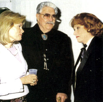 "Dale Robertson (""Tales of Wells Fargo"", ""Iron Horse"" and many films) with his wife Susan and actress Maureen O'Hara at the Cowboy Hall of Fame Western Heritage Awards in Oklahoma City in April 2002."