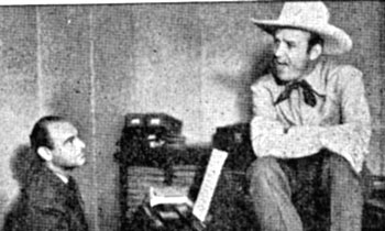 Gene Autry with lyricist and comedy writer Eddie Cherkose. Cherkose, born May 25, 1912, in Detroit, came to Hollywood writing comedy for radio and by 1937 was steadily employed writing music and lyrics at Republic. He wrote many songs for Gene's pictures. During his career he also wrote gags for Abbott and Costello, Olsen and Johnson, Spike Jones, The Ritz Brothers and Charlie McCarthy. He died at 87 in 1999.