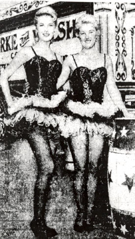 "For her role as a trapeze artist on ""Circus Boy: Big Top Angel"" (1/57), Jan Shepard (left) was coached and doubled by real aerialist Shawn Gallagher."