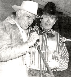 "Kelo Henderson (""26 Men"") and Will Hutchins (""Sugarfoot"") at the 1993 Wild West Film Fest in Tuolumne County, CA."