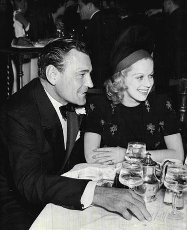 Buck Jones and actress Mary Dees at a social function in November 1937. (Thanx to Bobby Copeland.)