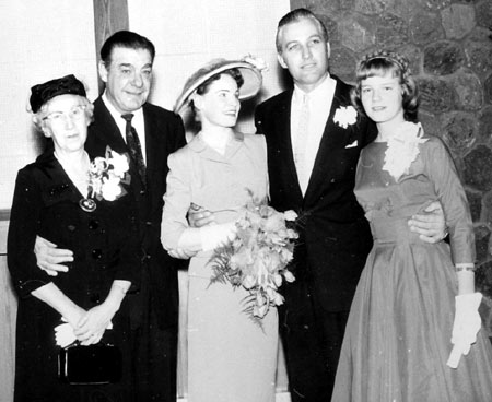 "A wedding day photo for John and Beryl Hart in February 1957. Shown here with (L-R) John's mother Enid, Lon Chaney Jr. and Beryl's 14 year old sister Shari. John and Chaney were making ""Hawkeye"" in Canada at the time. Beryl met John while acting on an episode of the series. (Thanx to Tom Weaver.)"