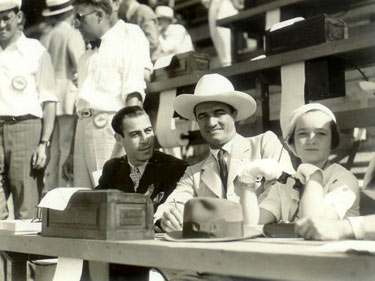 Tom Mix with sportscaster Bill Stern and Tom's daughter Thomasina at the 1932 Summer Olympics in Los Angeles. (Thanx to Bobby Copeland.)