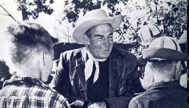 Randolph Scott with some young fans in 1955.