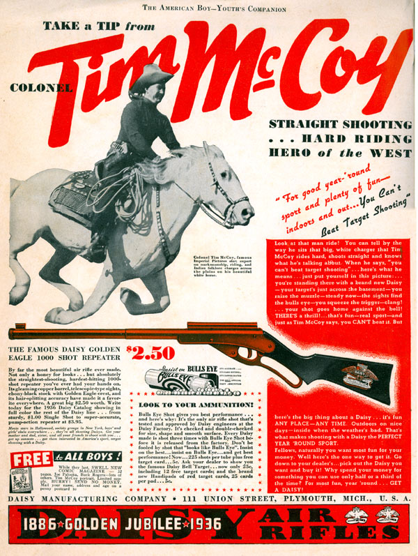 Terrific 1936 ad in THE AMERICAN BOY for the Daisy Golden Eagle 1000 shot repeater air rifle.