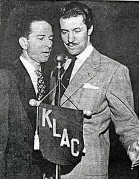 "Herb Jeffries (right) sings for Bob McLaughlin on Los Angeles' KLAC-TV's ""Picture Album"" in February 1949."