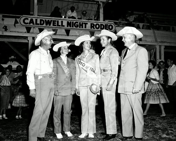 Audie Murphy (second from right) at the Caldwell, ID, rodeo on August 4, 1957.