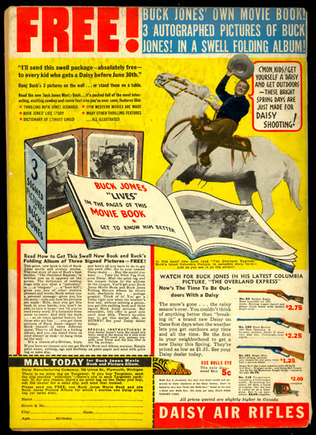 Did you have one of these? Buck Jones Daisy Air rifle ad on the back of POPULAR COMICS #29 (June '38).