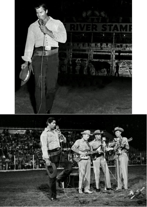 "Clint ""Cheyenne"" Walker entertains at the Snake River Stampede in Idaho in 1962."
