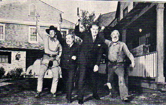 Wild Bill Elliott and sidekick Gabby Hayes have a little fun with Republic sales executives, circa 1943. (Thanx to Billy Holcomb.)
