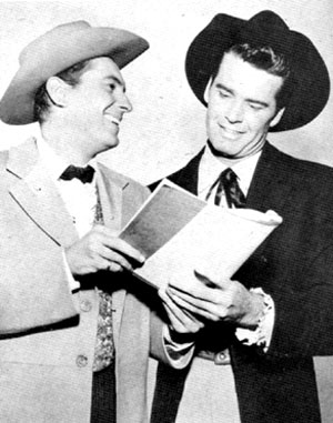 "The ""Maverick"" brothers, Jack Kelly and James Garner, chuckle over their latest script."
