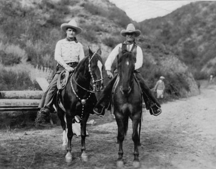 Vintage photo of Tom Mix on Tony. Could the rider with him possibly be is father? There is a strong resemblence, but.... (Photo courtesy Bobby Copeland.)