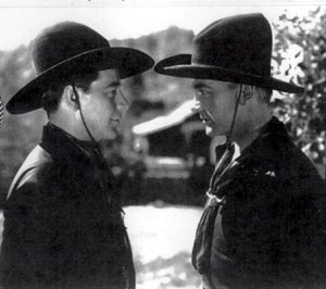 William Boyd (Hopalong Cassidy) and his double on the left Forest Lee (Frosty) Royse. (Photo courtesy HOPPY TALK and Gary Groyse, Frosty's son.)
