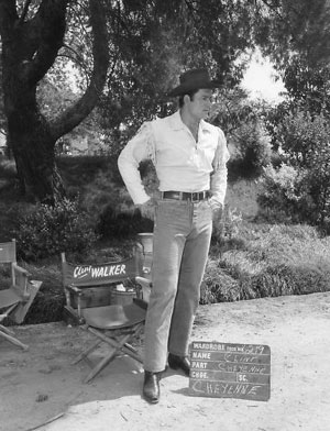 "A Clint Walker wardrobe test at Warner Bros. for ""Cheyenne""."