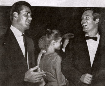 "James Garner (""Maverick"") and Ty Hardin (""Bronco"") having fun at a party circa 1960. (Thanx to Terry Cutts.)"