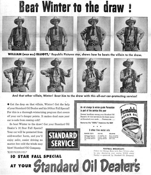 "Bill Elliott endorsement for Permalube Motor Oil in 1947 while he was starring in Republic's ""The Fabulous Texan"""